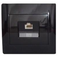 Розетка комп'ютерна одинарна (RJ45 Cat5e) чорний глянець oscar lxl