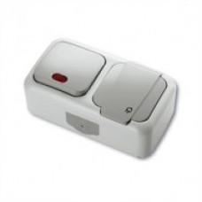 VIKO Palmiye Вимикач з підсвічуванням + Розетка горизонтальний блок вологозахисний