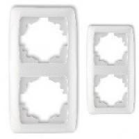 Рамка подвійна вертикальна VIKO CARMEN (білий/крем)