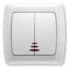 VIKO CARMEN DECORA Вимикач двоклавішний з підсвічуванням (білий/крем)