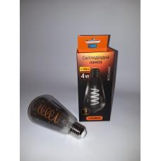LED лампа VIDEX Filament ST64FGD 4W E27 2100K Діммерная графіт