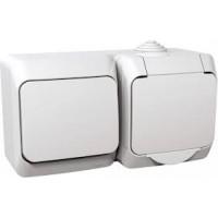 Розетка SCHNEIDER CEDAR WDE000500 1-я, з з / к c штор + 1-кл викл. білий IP44