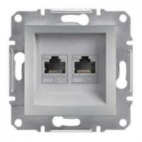 Розетка SCHNEIDER ASFORA EPH4400161 комп'ютерна 2-я RJ45 категорія 5e UTP алюміній