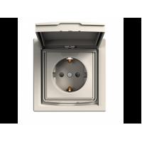 Розетка SCHNEIDER ASFORA EPH3100323 з з / к з кришкою IP44 крем